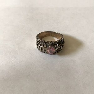 Antique 925 pink amethyst marcasite ring